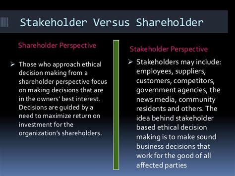 Shareholder Vs Stakeholder Essay by Business Ethics