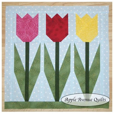 Tulip Quilt Pattern Block by Tulip Block Paper Piecing