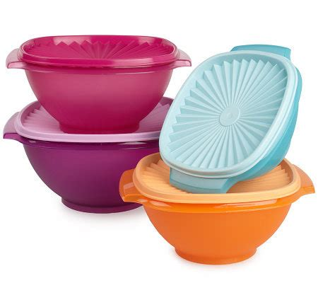 Isi 4 Bowl Set Tupperware tupperware 4 servalier bowl set page 1 qvc