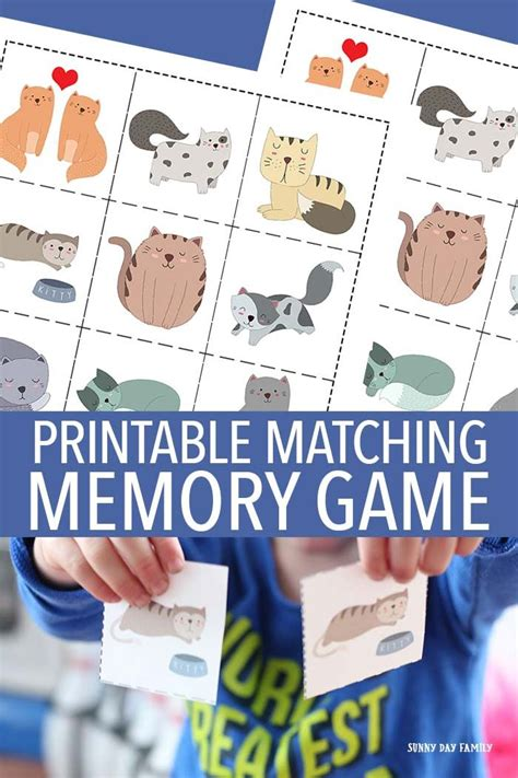 printable memory games for kindergarten cat matching memory game for kids learning activities
