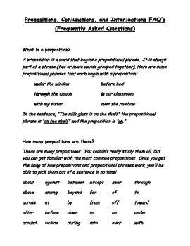 Grammar Worksheets - Prepositions, Conjunctions