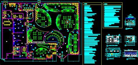 italian restaurant  floor plans  dwg design section