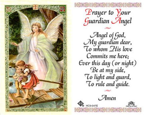 Guardian Prayer Holy Cards Prayer To Your Guardian Holy Card