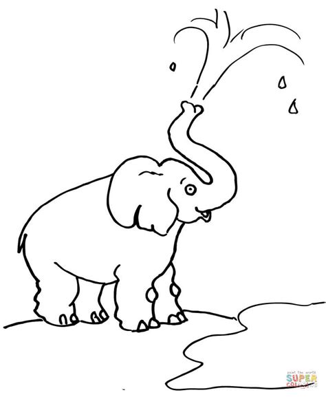 elephant trunk coloring page elephant blow water out of his trunk coloring page free