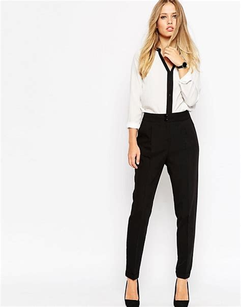 Land Nanette Lepores Wearable High Waist Trousers by Asos Asos Tailored High Waisted Trousers With Turn Up Detail