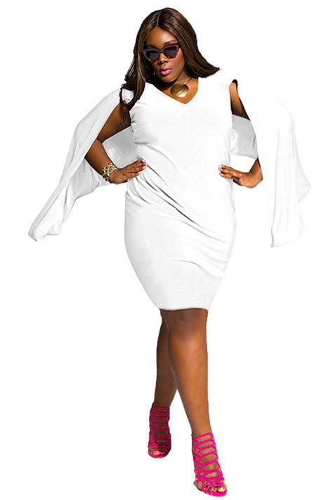 Dress Large Size Wh0153 womens plus size v neck open sleeve midi dress white pink