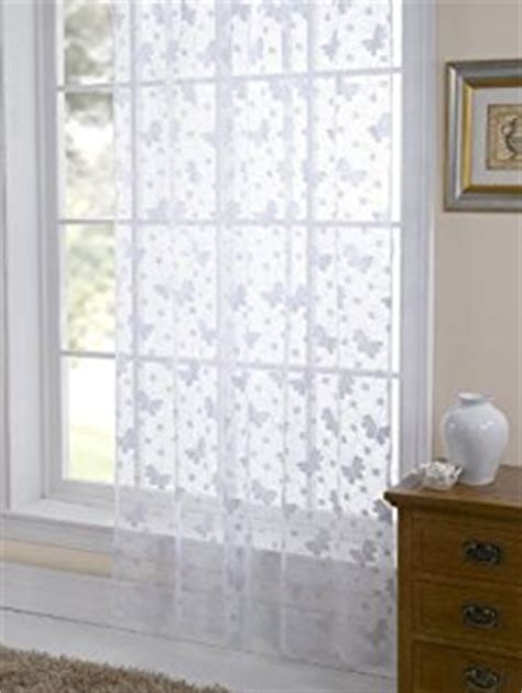 voile jardin jardin lace butterfly voile curtain panel white 57 x 90 quot slot top co uk kitchen home