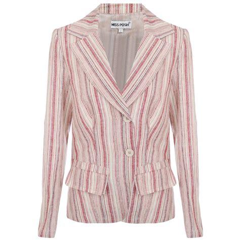 miss posh womens striped linen cotton summer button tunic jacket blazer ebay