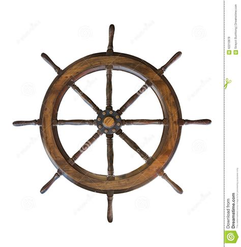 boat steering wheel retro vintage wooden ship steering wheel rudder isolated on a