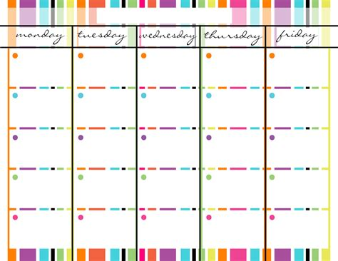 free monday friday calendar templates calendar template 2016