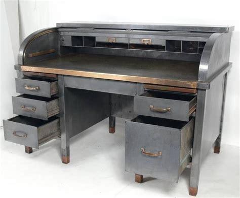 bankers desk for sale 1930s banker s metal roll top industrial desk at 1stdibs