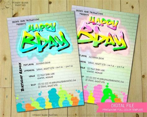 Graffiti Does Invitations by The Wall Invitation Print At Home Graffiti Invite