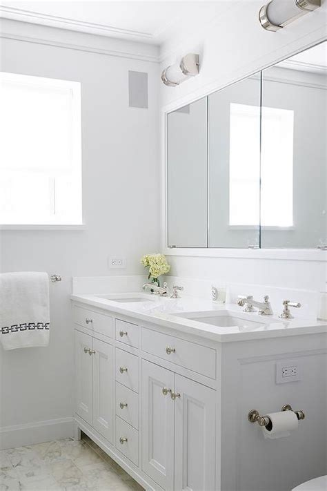 white on white bathroom white shaker double bathroom vanity transitional bathroom
