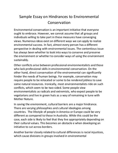 Environment Preservation Essay by Sle Essay On Hindrances To Environmental Conservation