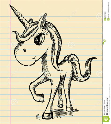 doodle how to make unicorn notebook sketch unicorn doodle royalty free stock images