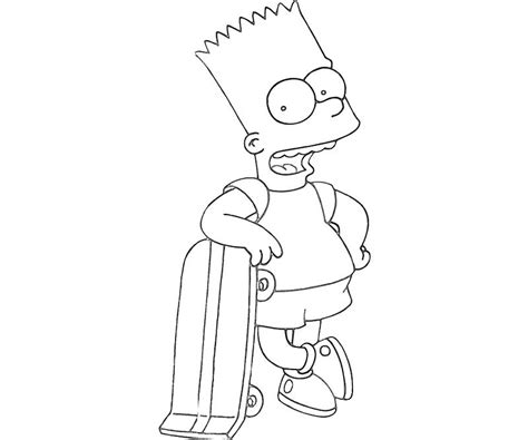 free coloring pages of bart on skate board