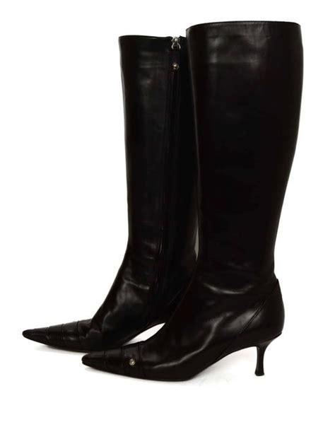 chanel black leather kitten heel knee high boots sz 38 for
