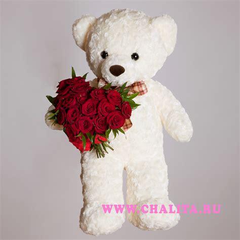 valentines teddy flower arrangement 171 s teddy 187 big teddy