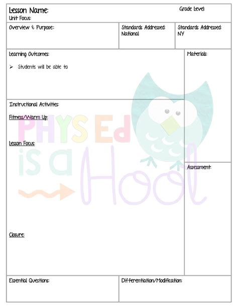 blank lesson plan template for physical education 25 best ideas about lesson plan templates on