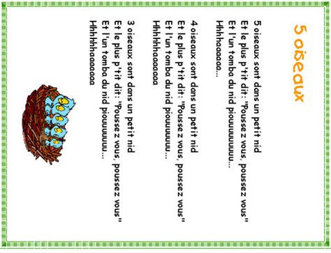 imprimer cinq oiseaux dans le nid pour carnet de chants