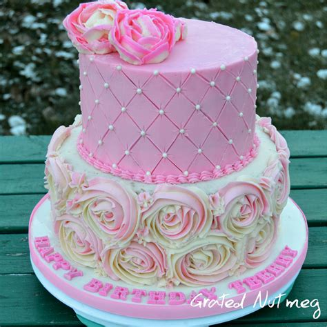 Grid Sweety Cake Note the of a two tier buttercream cake grated nutmeg