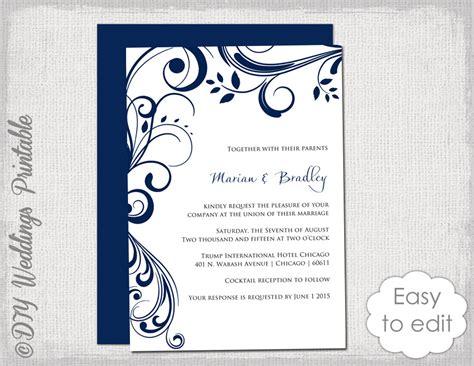 digital wedding invites template navy wedding invitation template scroll