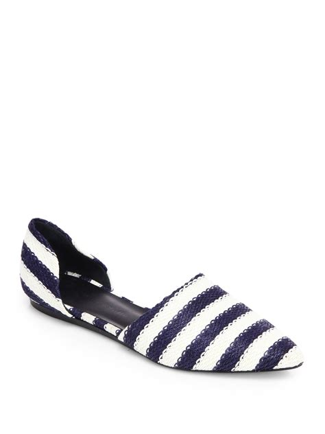 striped flats shoes kayne striped raffia d orsay flats in blue navy