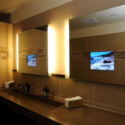 a prettyboy s bathroom mirrors with built in tvs by