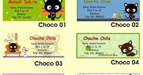 Custom 35 000 Cetak Foto Bebas Dari Katalog 2 choco cat stiker label nama
