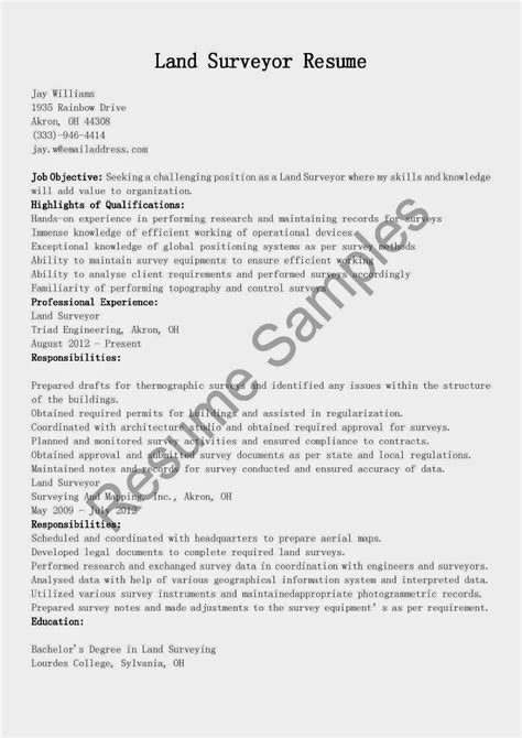 land surveyor resume sle resume sles land surveyor resume sle