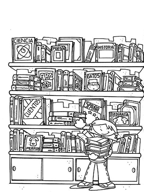 Library in science section coloring pages download