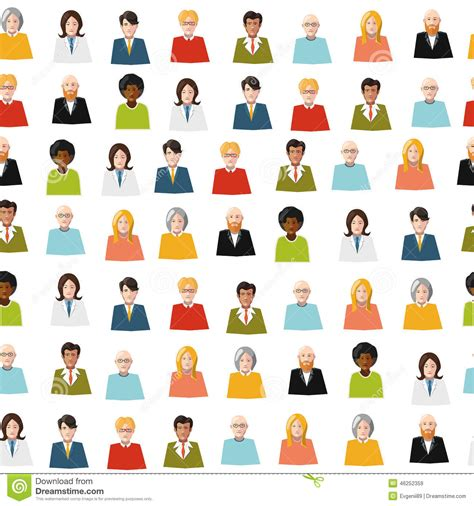 pattern color flat crowd of color flat people seamless pattern stock vector