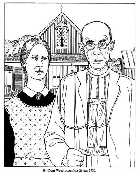 coloring book for goths american grant wood para colorear e ilustrar