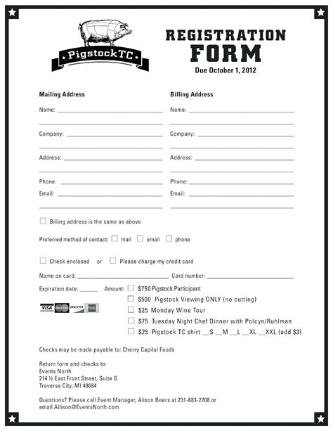 Sle Workshop Registration Form Template Free Forms Templates
