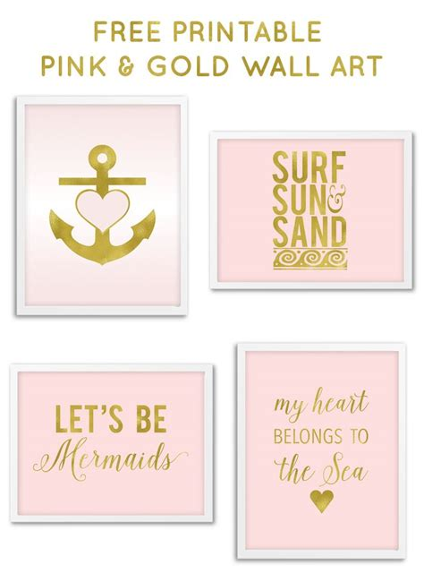 printable wall art free printable pink gold nautical wall art from