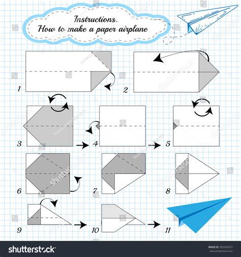 How To Make A Paper Weight - paper plane tutorial step by step stock vector 305342972