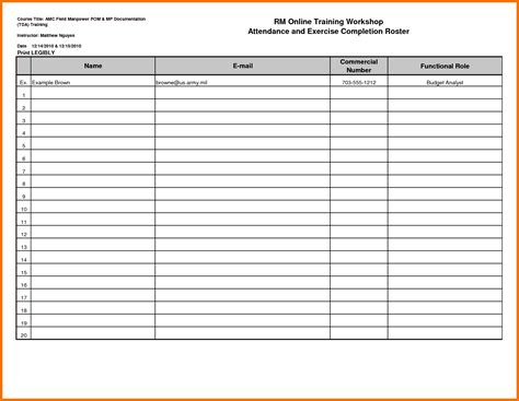 blank roster template profile templates printable book