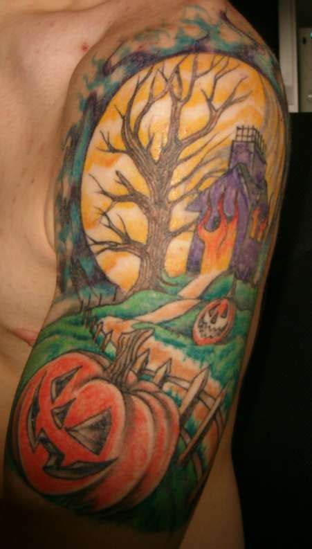halloween tattoo sleeve half sleeve forearm designs