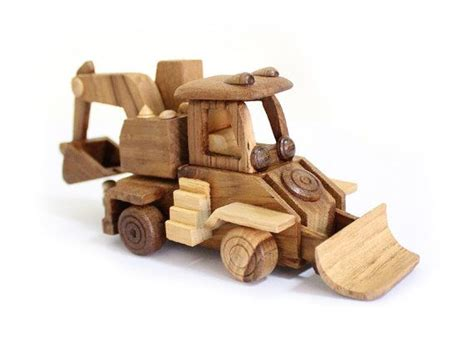 Wooden Toys Handmade - wooden backhoe loader in handmade