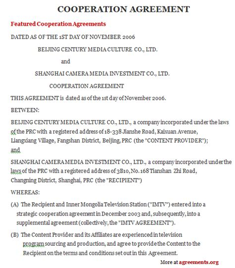 cooperation agreement  word  agreementsorg
