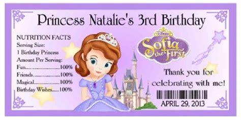 Sofia The First Birthday Giveaways - 20 princess sofia the first birthday party favors water bottle labels ebay