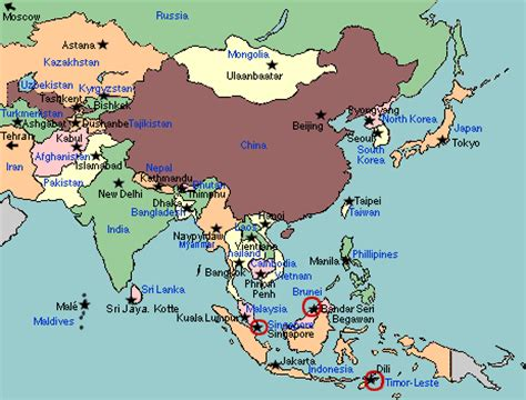 asia map countries and capitals asia map with capitals