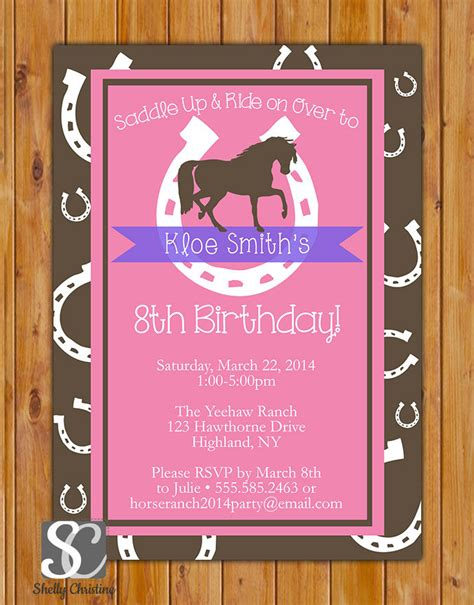 horse birthday party invitations printable or digital file horse birthday invitation horse riding invite lucky horseshoe