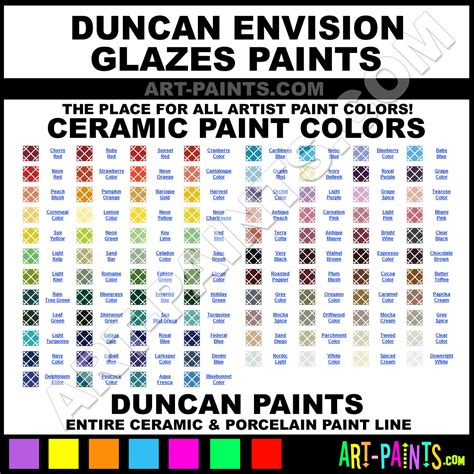 duncan envision glazes ceramic porcelain paint colors