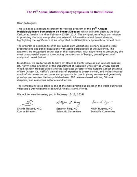 Patient Invitation Letter Invitation Letter 187 Uf Multidisciplinary Symposium On Breast Disease 187 College Of Medicine