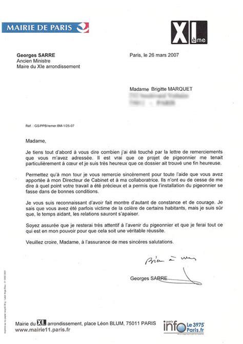 Lettre De Remerciement Mairie 201 V 233 Nements Ambassade Des Pigeons