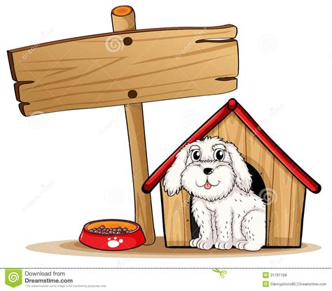 dogs inside the house a dog inside the dog house with a wooden signboard royalty free stock photos image