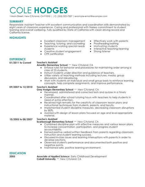 best assistant teacher resume exle livecareer