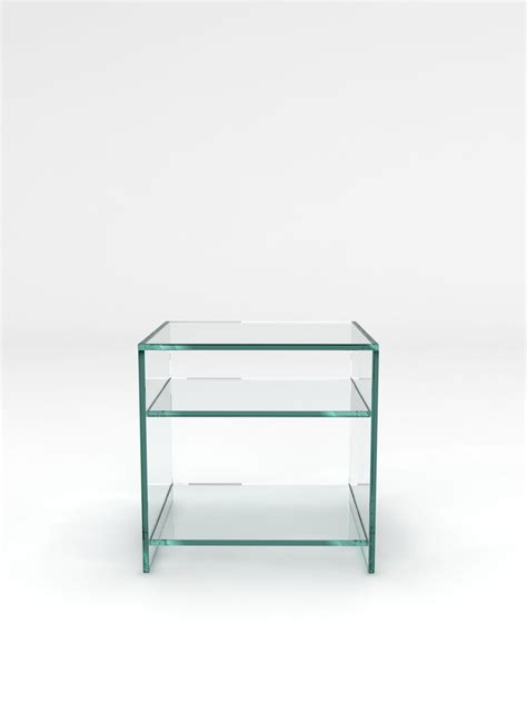 side table with shelves crystal glass side table 2 shelves by glassdomain