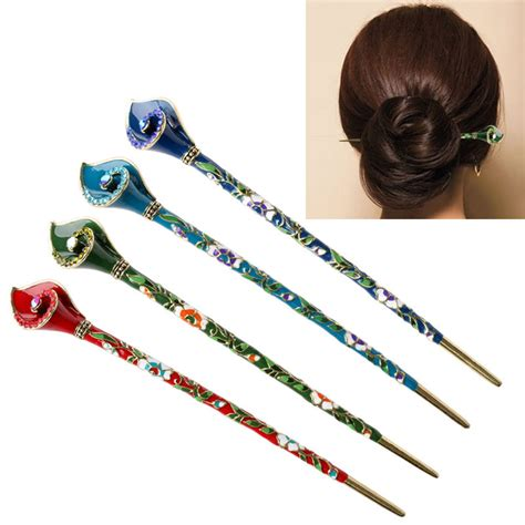 Handmade Hair Sticks - retro metal rhinestone handmade hair stick